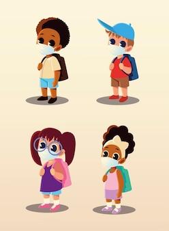 Zurück zur schule der kinder mit medizinischen masken, sozialer distanzierung und bildungsthema