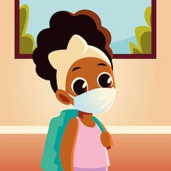 Zurück zur schule des mädchenkindes mit medizinischer maske und tasche, sozialem abstand und bildungsthema