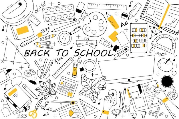 Zurück zur schule doodle-set. sammlung von handgezeichneten skizzen kritzeleien.