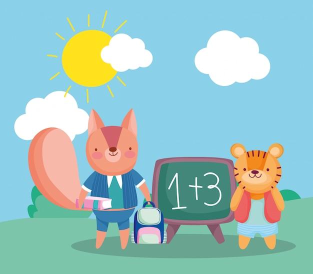 Zurück zur schule, eichhörnchen mit buchrucksack und tiger-outdoor-cartoon