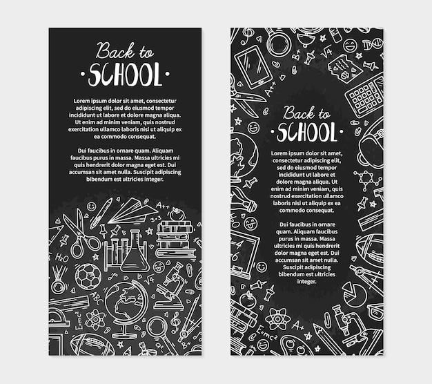 Zurück zur schule-flyer mit symbolen auf einer tafel