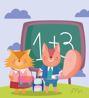 Zurück zur schule, fuchs und eichhörnchen tafel rucksack buch cartoon