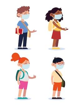 Zurück zur schule für neue normale, jugendliche studenten mit medizinischen masken und rucksackkarikaturillustration