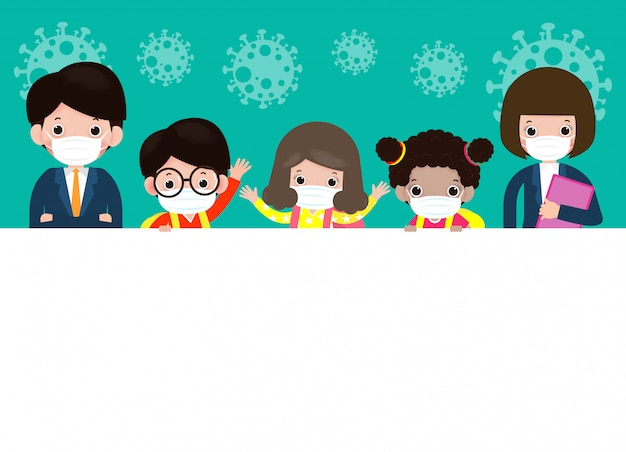 Zurück zur schule für neues normales lebensstilkonzept glückliche niedliche schülerkinder und -lehrer, die gesichtsmaske tragen, schützen coronavirus oder covid 19, die großes schild isolierte illustration halten