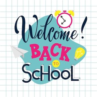 Zurück zur schule handgezeichnete schrift. elemente für grußkarten, poster, banner. notizbuch- und aufkleberdesign