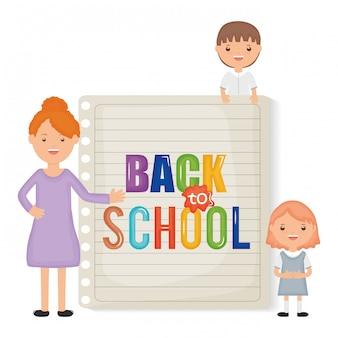 Zurück zur schule. junge lehrerin mit kleinen studentenkindern