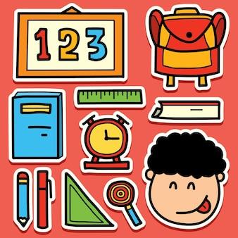 Zurück zur schule kawaii gekritzel cartoon aufkleber design