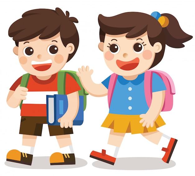 Zurück zur schule. kinder gehen mit rucksack zur schule.