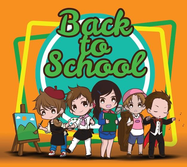 Zurück zur schule. kinder im arbeitsanzug.