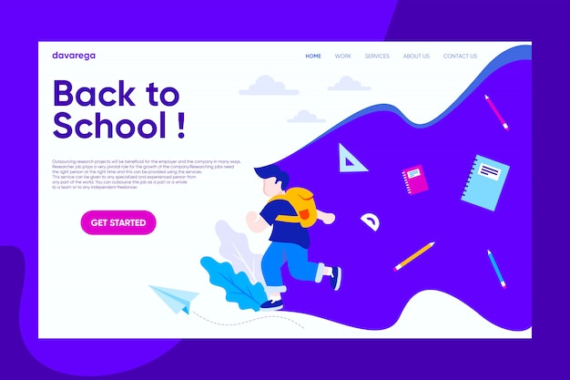 Zurück zur schule landing page design moderne flachbilder