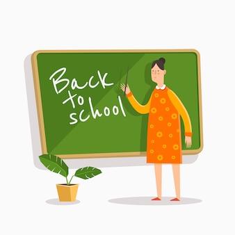 Zurück zur schule. lehrer mit einem zeiger auf der schulbehörde.