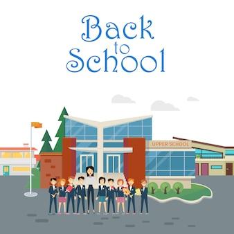 Zurück zur schule. lehrer mit schülern auf dem schulhof