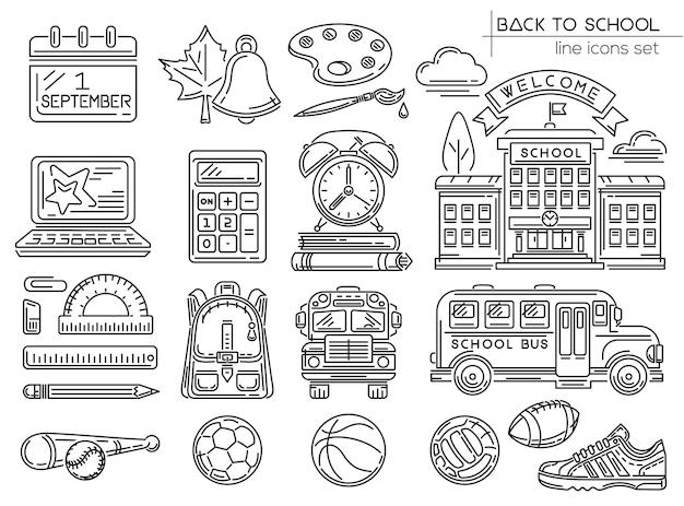 Zurück zur schule. linie-icon-set. willkommen in der schule. sammlung von symbolen für schule und bildung. vektor-illustration