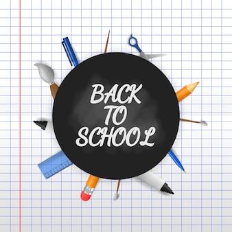 Zurück zur schule mit 3d-illustration auf papierhintergrund