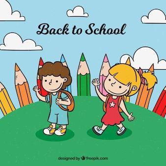 Zurück zur schule mit hand gezeichneten kindern