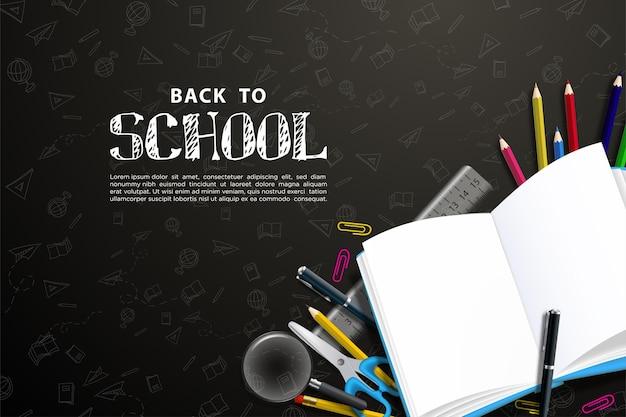 Zurück zur schule mit illustration der schulausstattung