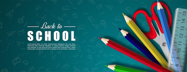 Zurück zur schule mit illustration von schere, bleistift und lineal