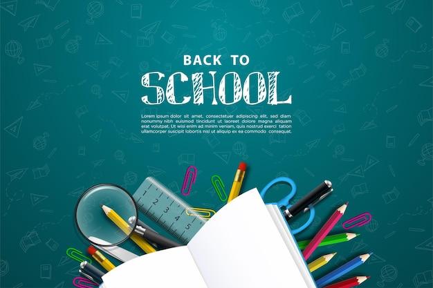 Zurück zur schule mit illustration von schulmaterial auf grauem hintergrund