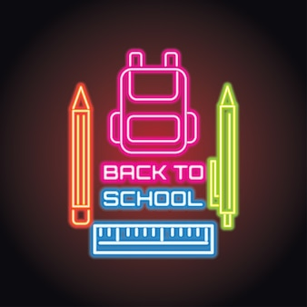 Zurück zur schule mit neonlichteffekt