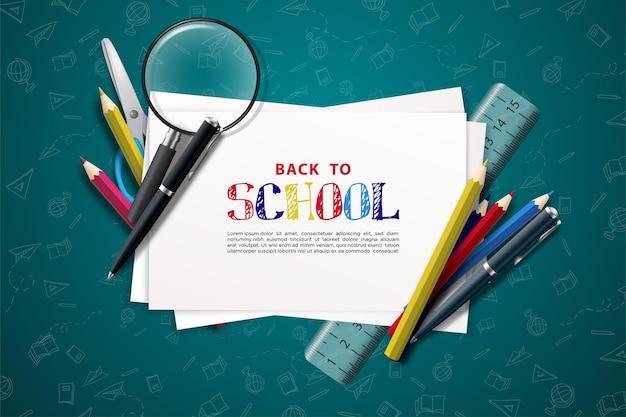 Zurück zur schule mit schreiben auf weißem papier