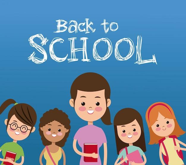Zurück zur schule mit studentenplakat