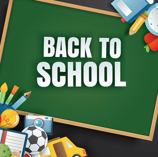 Zurück zur schule mit unterrichtsgegenständen und grüner tafel.