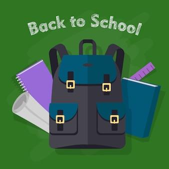 Zurück zur schule. moderner schwarzer rucksack mit gegenständen