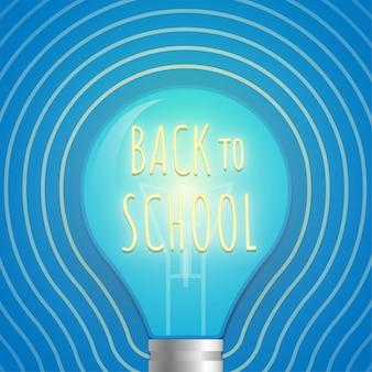 Zurück zur schule neon glühbirne, die auf blauem hintergrund leuchtet.