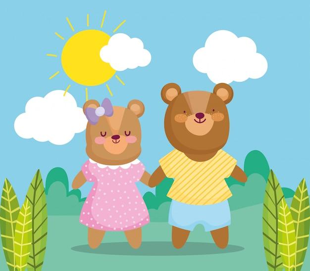 Zurück zur schule, niedliche bärenkinder mit kleidern im freien