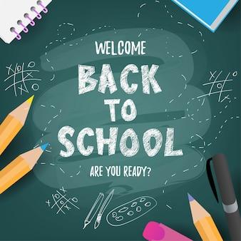 Zurück zur schule niedlichen lustigen text mit schulmaterial und pädagogischen elementen. konzeptdesign, banner, karte, gruß.
