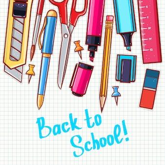 Zurück zur schule. niedlicher hintergrund mit verschiedenen schreibwaren.