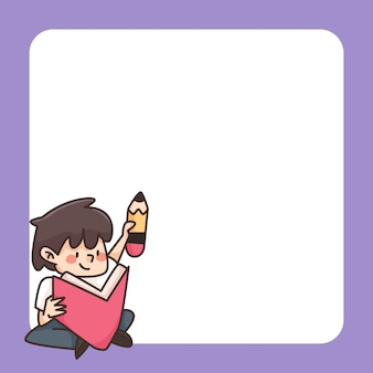 Zurück zur schule notizblock niedliche karikaturillustration