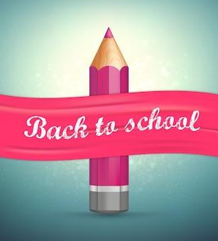 Zurück zur schule. realistischer bleistift, rosa band.