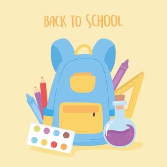 Zurück zur schule, rucksack chemieflasche lineal und farbstifte bildung cartoon