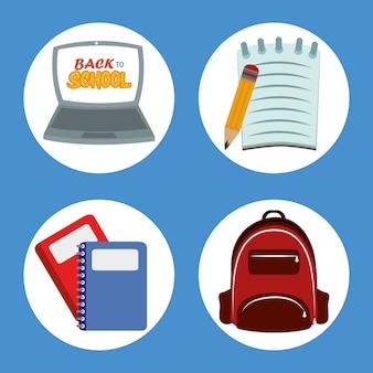 Zurück zur schule, rucksack laptop papier bleistift und notizbücher grundschulbildung ikonen illustration