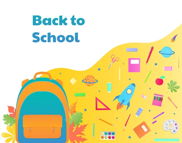Zurück zur schule, rucksack mit lernmaterialien, schreibwaren. raumschiff, komet und planet