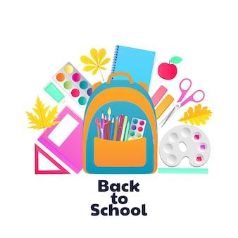 Zurück zur schule. rucksack und schulmaterial. schreibwaren und gegenstände für die kreativität der kinder.