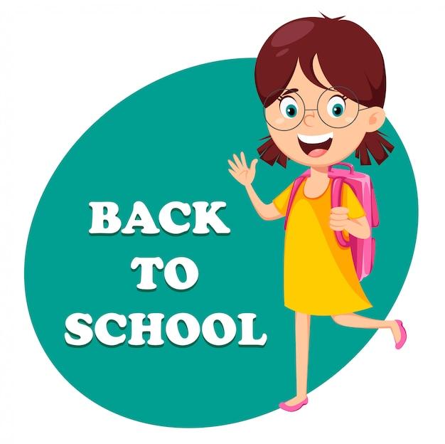 Zurück zur schule. schönes mädchen mit rucksack