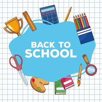 Zurück zur schule schriftzug und set objekte