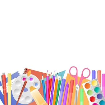 Zurück zur schule. schulbedarf für den unterricht und die kreativität der kinder.