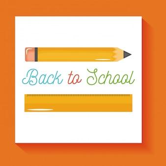 Zurück zur schule. schulbleistift- und -regelversorgungen lokalisiert