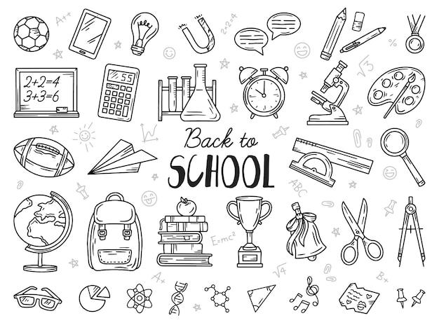 Zurück zur schule set von doodle-skizzen-icons
