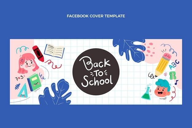 Zurück zur schule social media cover-vorlage