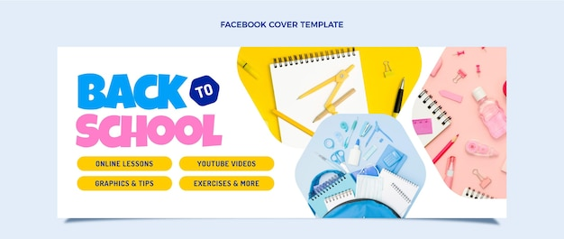 Zurück zur schule social-media-cover-vorlage