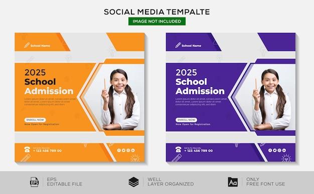 Zurück zur schule social media instagram post-design-vorlage