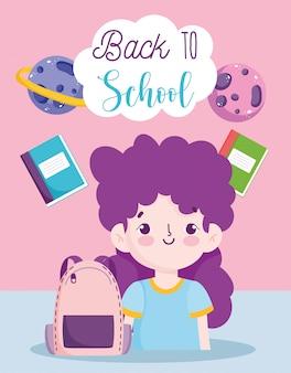 Zurück zur schule, studentin mädchen rucksack und lehrbücher grundschulbildung cartoon vektor-illustration