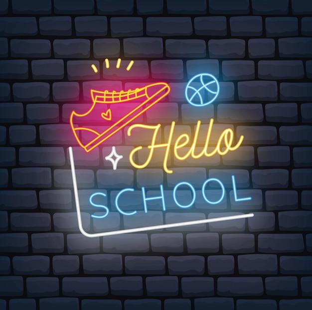 Zurück zur schule unter dem motto neonzeichen