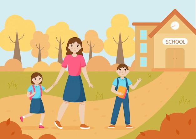 Zurück zur schule vektor-illustration konzept. mutter bringt kinder zur schule. familie zusammen. herbstlandschaft.