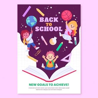 Zurück zur schule vertikale flyer-vorlage