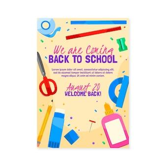 Zurück zur schule vertikale plakatvorlage